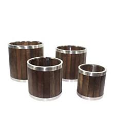 Leisure Season Round Wooden Planter with Stainless Steel Trim