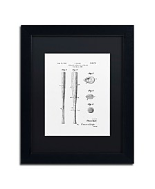 """Claire Doherty 'Baseball Bat Patent 1939 White' Matted Framed Art - 11"""" x 14"""""""