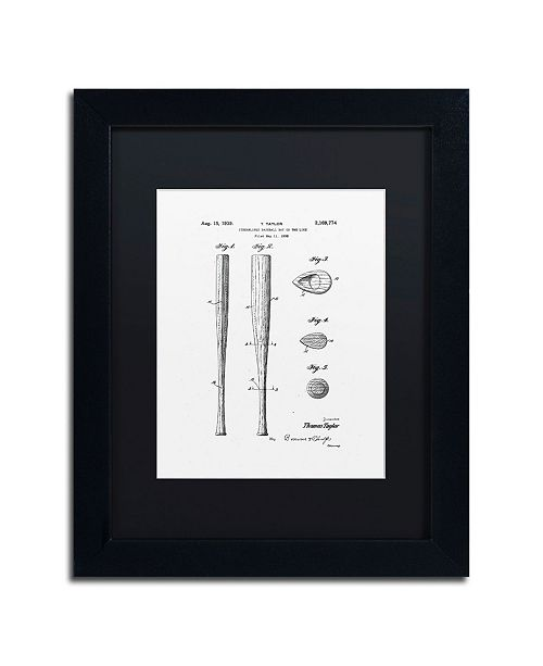 "Trademark Global Claire Doherty 'Baseball Bat Patent 1939 White' Matted Framed Art - 11"" x 14"""