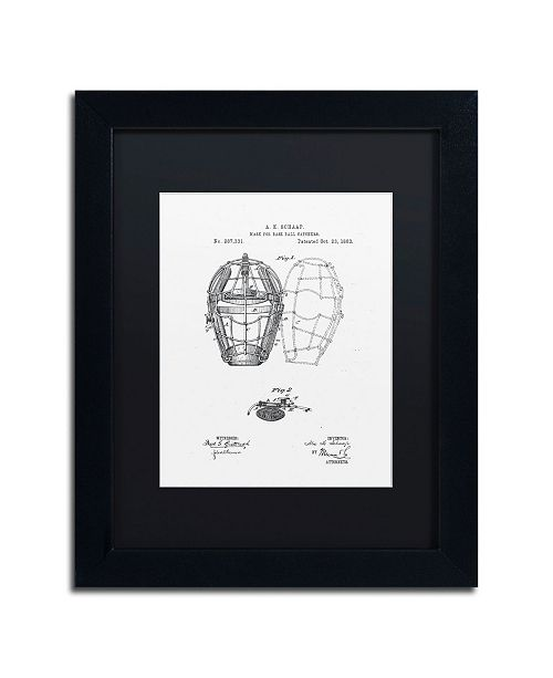 """Trademark Global Claire Doherty 'Catcher's Mask Patent 1883 White' Matted Framed Art - 11"""" x 14"""""""