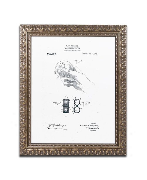 "Trademark Global Claire Doherty 'Baseball Curver Patent 1909 White' Ornate Framed Art - 11"" x 14"""
