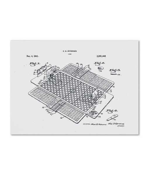 """Trademark Global Claire Doherty 'Basketball Court Game Patent 1941 White' Canvas Art - 47"""" x 35"""""""