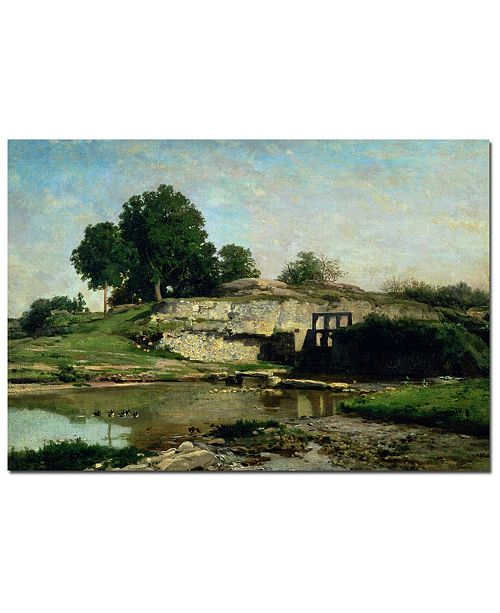 "Trademark Global Charles Daubigny 'The Lock at Optevoz 1859' Canvas Art - 32"" x 22"""