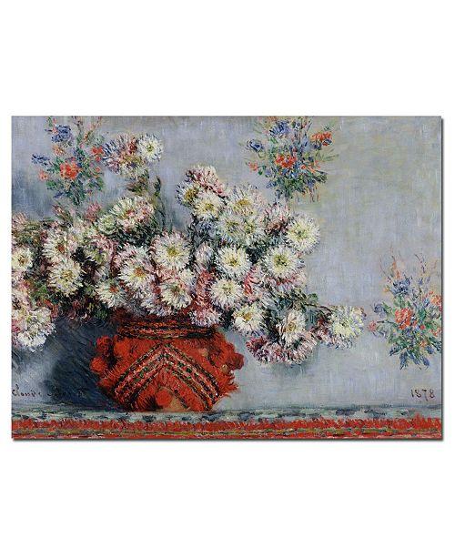 """Trademark Global Claude Monet 'Chrysanthemums, 1878' Canvas Art - 47"""" x 35"""""""