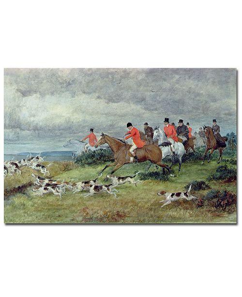 "Trademark Global Randolph Caldecott 'Fox Hunting in Surrey' Canvas Art - 24"" x 16"""