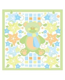 """Grace Riley 'Teddy Bear and Flowers' Canvas Art - 14"""" x 14"""""""