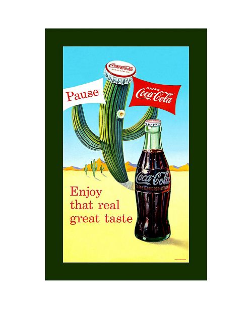 "Trademark Global Coke Pause Cactus Stretched Canvas Art - 24"" x 14"""