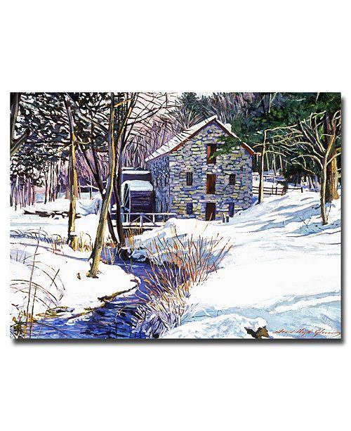 "Trademark Global David Lloyd Glover 'Snow Mill' Canvas Art - 47"" x 35"""