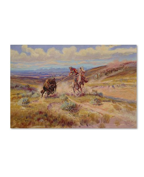 "Trademark Global Charles Russell 'Spearing a Buffalo 1925' Canvas Art - 47"" x 30"""