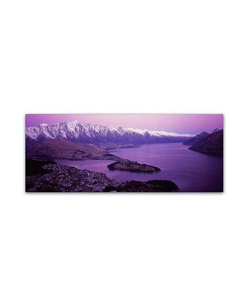 "Trademark Global David Evans 'Queenstown and The Remarkables-NZ' Canvas Art - 32"" x 10"""