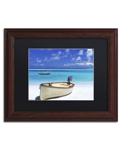 "Trademark Global David Evans 'Boats-Gili Lankanfushi' Matted Framed Art - 11"" x 14"""