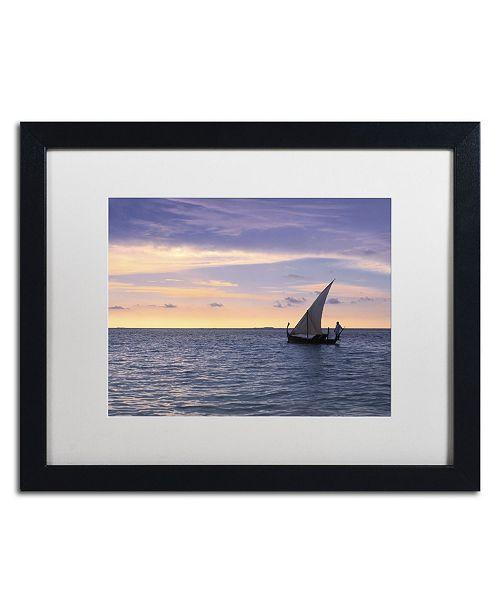 "Trademark Global David Evans 'Dhoni Dream-Maldives' Matted Framed Art - 16"" x 20"""