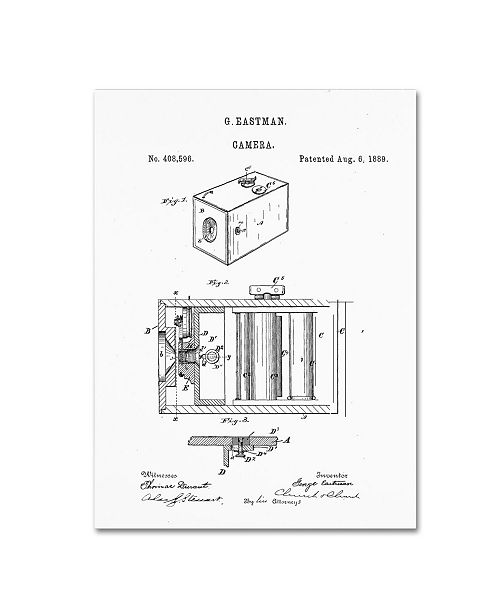 """Trademark Global Claire Doherty 'George Eastman Camera Patent White' Canvas Art - 24"""" x 32"""""""