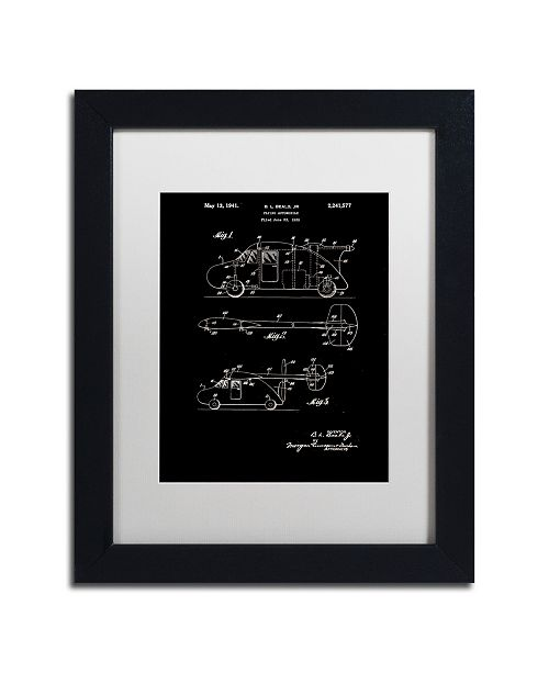 """Trademark Global Claire Doherty 'Flying Car Patent 1941 Black' Matted Framed Art - 11"""" x 14"""""""