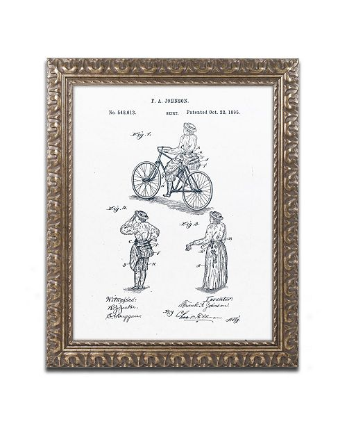 """Trademark Global Claire Doherty 'Cycling Skirt Patent 1885 White' Ornate Framed Art - 11"""" x 14"""""""