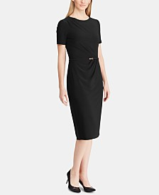 Lauren Ralph Lauren Belted Short-Sleeve Jersey Dress