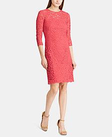 Lauren Ralph Lauren Scalloped-Hem 3/4-Sleeve Lace Dress