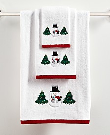 Martha Stewart Collection Snowman Cotton Bath Towel Collection, Created for Macy's