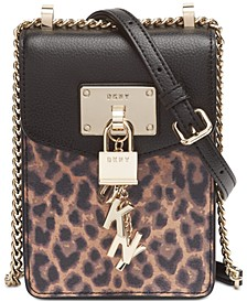 Elissa North-South Leopard Leather Crossbody, Created for Macy's