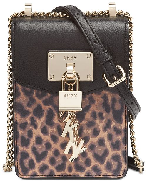 DKNY Elissa North-South Leopard Leather Crossbody, Created for Macy's
