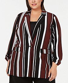 Plus Size Printed One-Button Blazer, Created for Macy's