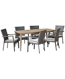 Talbot Outdoor 7pc Dining Set, Quick Ship