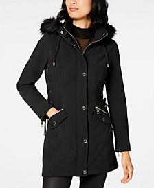Faux-Fur-Trim Lace-Up Raincoat