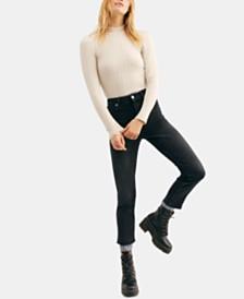 Free People High-Rise Raw-Hem Capri Jeans