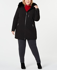 Calvin Klein Plus Size Faux-Fur-Trim Hooded Raincoat