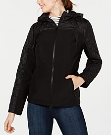 Juniors' Mixed-Media Hooded Jacket