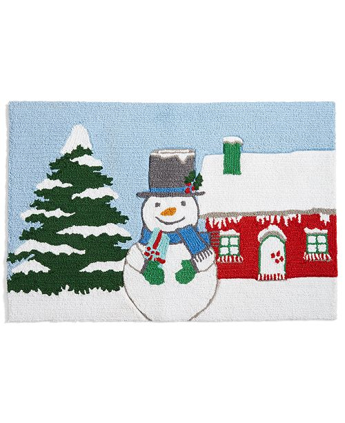"""Martha Stewart Collection CLOSEOUT! Snowman 20"""" x 30"""" Hooked Rug, Created for Macy's"""