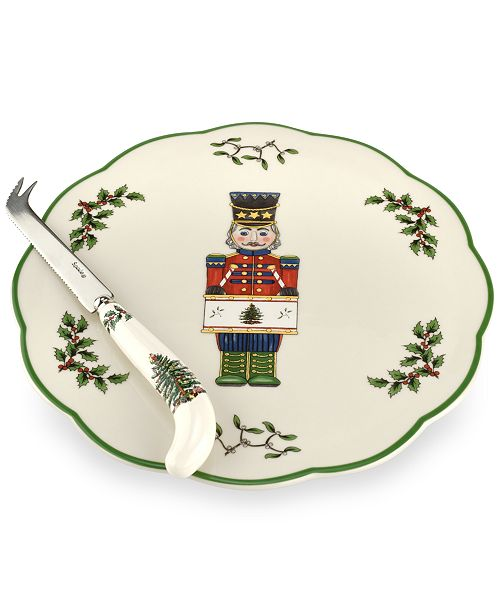 Spode Christmas Tree Nutcracker Cheese Plate with Knife