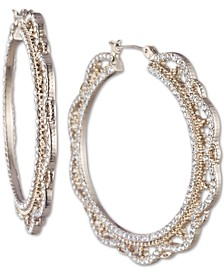 Gold-Tone Medium Crystal Filigree Medium Hoop Earrings  1-1/3""