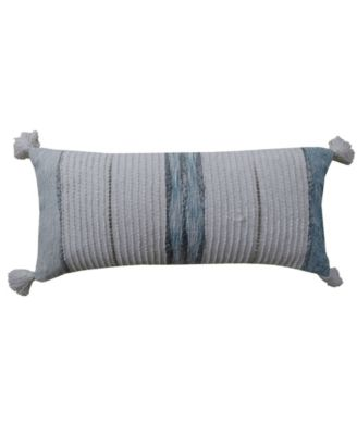 "Decorative Throw Pillow 14"" x 30"" for Couch Handloom Woven Textured Stripes"