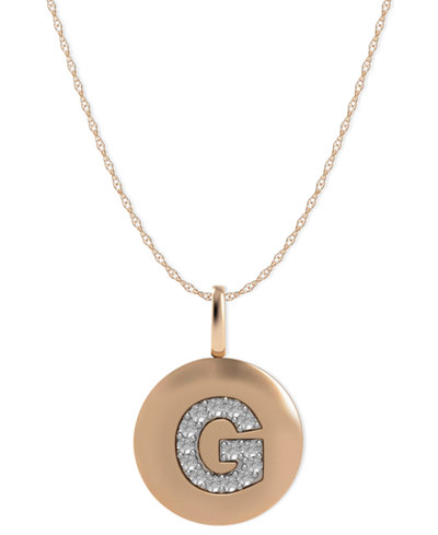 14k rose gold necklace diamond accent letter g disk pendant