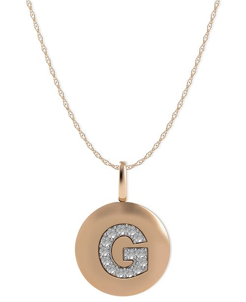 Macys 14k rose gold necklace diamond accent letter g disk pendant main image aloadofball Image collections