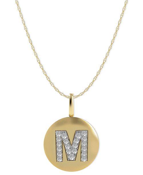 Macy's 14k Gold Necklace, Diamond Accent Letter M Disk Pendant