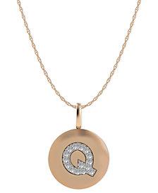 14k Rose Gold Necklace, Diamond Accent Letter Q Disk Pendant