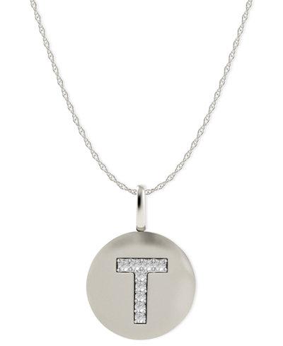 14k White Gold Necklace, Diamond Accent Letter T Disk Pendant