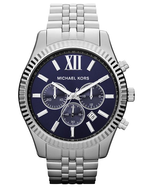 c201729110cb ... Michael Kors Men s Chronograph Lexington Stainless Steel Bracelet Watch  45mm MK8280 ...