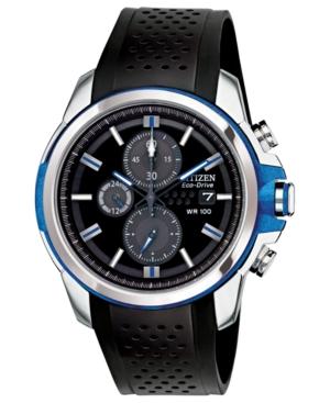 Citizen Men's Chronograph Drive from Citizen Eco-Drive Black Polyurethane Strap Watch 45mm CA0421-04E