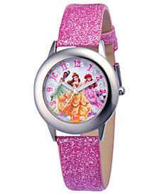 Disney Watch, Kid's Glitz Princess Pink Glitter Leather Strap 31mm W000408