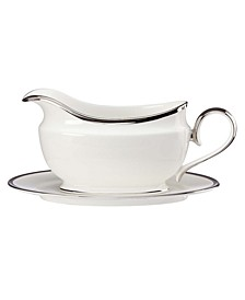Solitaire White Gravy Boat and Stand