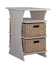 All in One Side Table with Storage Basket, Quick Ship