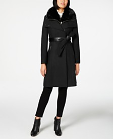 French Connection Faux-Fur-Collar Belted Coat with Faux-Leather Trim