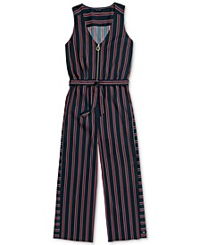 Women's Striped Twill Romper with Full Front Zip Closure