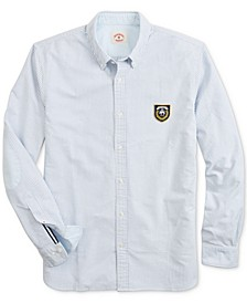 Men's Red Fleece Stripe Oxford Shirt with Elbow Patches