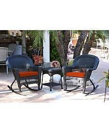 Jeco 3 Piece Rocker Wicker Chair Set with Cushion - OVER-MAX
