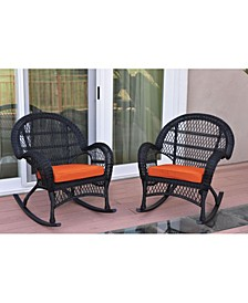 Santa Maria Wicker Rocker Chair with Cushion - Set of 2