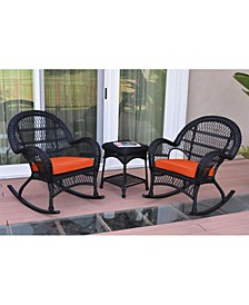 3 Piece Santa Maria Rocker Wicker Chair Set with Cushion
